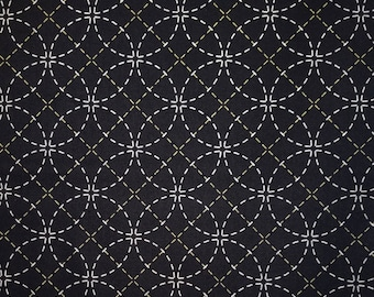 Olympus dark navy pre-printed wash-away sashiko fabric -  shippo tsunagi seven treasures pattern