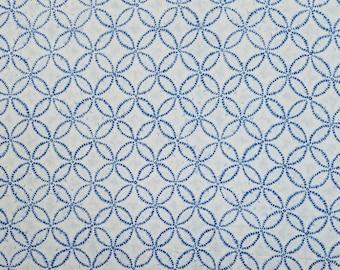 Japanese import new cotton fabric - Sevenberry Shibori Blues Shippo circles in white