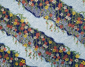 Japanese import new cotton quilting fabric - Quilt Gate Hyakka Ryoran faux shibori and floral