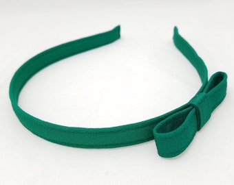 Vintage kimono fabric hairband headband - Emerald green silk