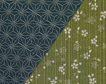 Sevenberry Japan reversible double sided asanoha and sakura dobby cotton in green and blue-green