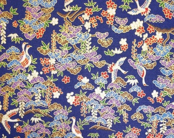 Japanese import new cotton quilting fabric - Quilt Gate Hyakka Ryoran crane with pine, bamboo and floral