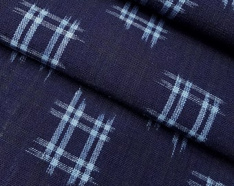 Vintage, Japanese kasuri ikat deep indigo with cross-hatch cotton fabric section -  51 inches (129.5 cm)