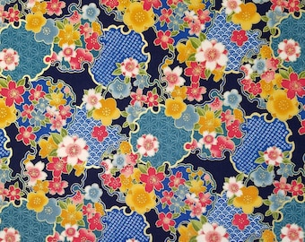 Sevenberry Japan Sakura Brook Metallic Collection - Navy Sakura Floral cotton fabric
