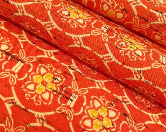 Vintage vermillion abstract floral wool blend kimono fabric - by the yard
