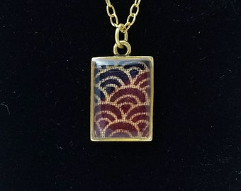 24k gold rectangle pendant necklace with deep maroon and blue wave kimono fabric
