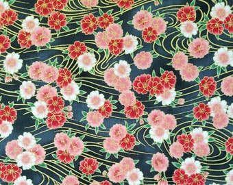 Imperial Collection by Studio RK - Onyx and Red Sakura cherry blossom floating on breeze
