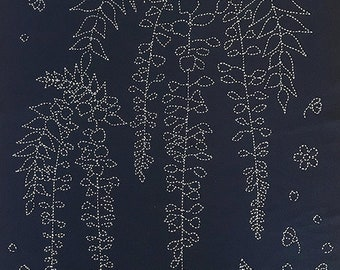 Sashiko pre-printed wash-away pattern sampler panel - wisteria and sakura cherry blossoms on dark navy