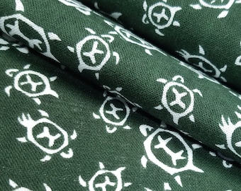 Japanese dark green and white turtle pattern Tenugui cotton - by the yard