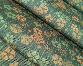 Chirimen crepe silk Kimono fabric - pine green floral - by the yard