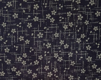 Japanese import New indigo colored cotton quilting fabric  - cherry blossom sakura and cross hatches