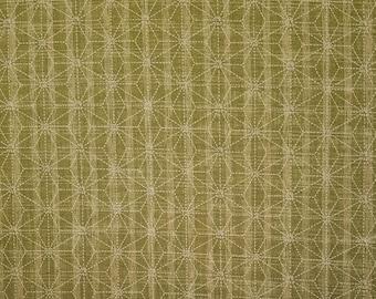 Sevenberry Japan Sevenberry Nara Homespun Collection - Green and tan striped Asanoha hemp leaf cotton