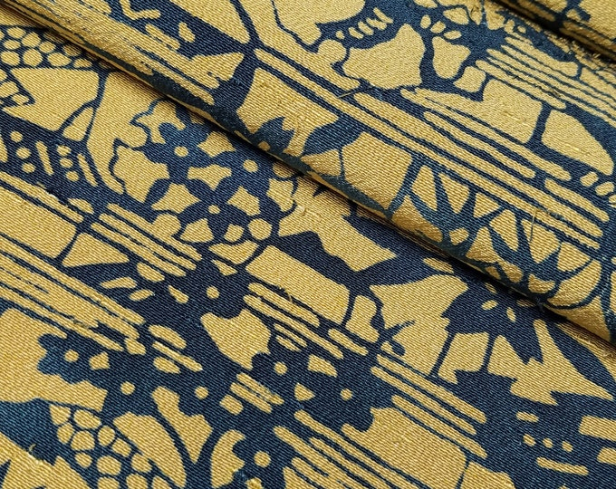 Featured listing image: Vintage, golden brown and blue green katazome, tsumugi, pongee, kimono silk - 63 inches (160 cm)