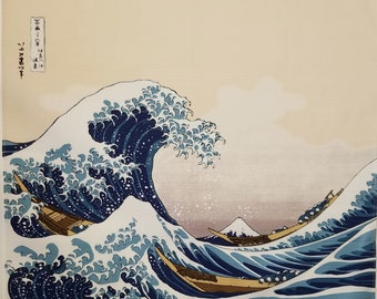 Japanese cotton furoshiki wrapping cloth -  The Great wave