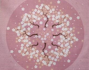 Japanese cotton furoshiki wrapping cloth -  lavender - pink cherry blossom sakura