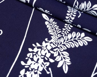 Indigo blue and white wistera Japanese yukata cotton fabric section -  62 inches (157.5 cm)