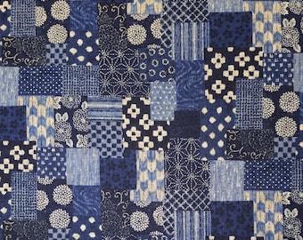 Reserved . Sevenberry Japan Sevenberry Nara Homespun Collection - blue patchwork cotton