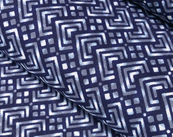 Indigo blue, gray and white cotton yukata fabric - by the yard - abstract diamond pattern