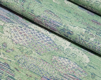Vintage wool blend Kimono fabric - woven garden scene - by the yard