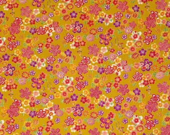 Sevenberry Japan Sakura Brook Metallic Collection - Curry Sakura Floral cotton fabric