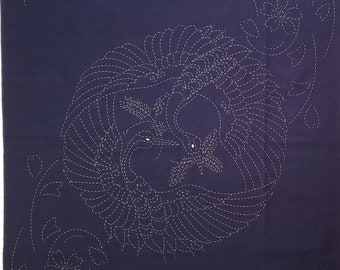 Sashiko pre-printed wash-away pattern sampler panel - Cranes and Sakura cherry blossoms on dark navy