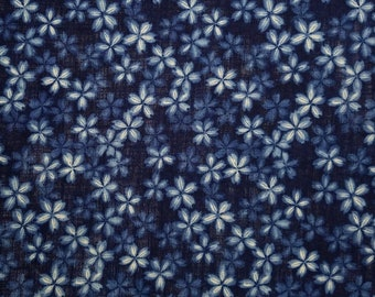 New, Japanese import cotton canvas fabric - indigo and white faux shibori sakura