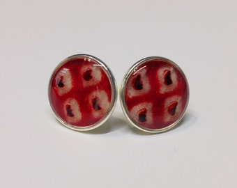 Sterling silver stud earrings with red and white colored shibori kimono fabric