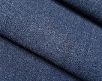 Asa hemp wool blend kimono fabric - by the yard - Indigo blue colored