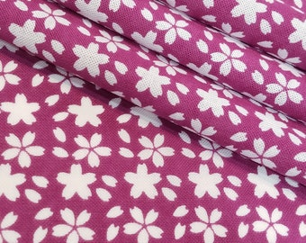Japanese magenta pink and white sakura cherry blossom patterned Tenugui cotton - by the yard