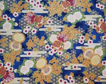Japanese import new cotton quilting fabric - Quilt Gate Hyakka Ryoran egasumi and thread spools