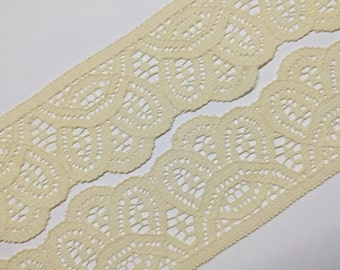 Vintage, off-white - echru - beige color lace trim- by the yard