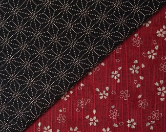 Sevenberry Japan reversible double sided asanoha and sakura dobby cotton in berry red and black