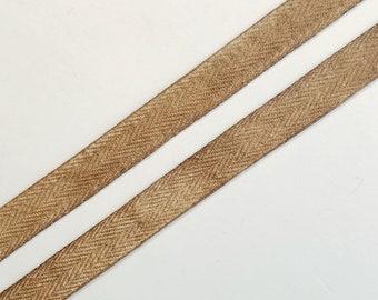 Hand dyed kakishibu persimmon tannin 1/2 inch wide cotton trim- by the yard