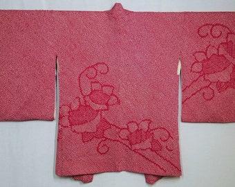 Women's  vintage, shibori Haori kimono jacket - red and white shibori with floral pattern
