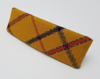 Vintage kimono fabric french hair clip barrette - Mustard yellow plaid wool