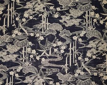 Sevenberry Japan Nara Homespun cotton canvas fabric - Pine and traditional designs