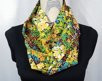 Infinity loop Silk scarf created with vintage kimono fabric - floral chirimen crepe