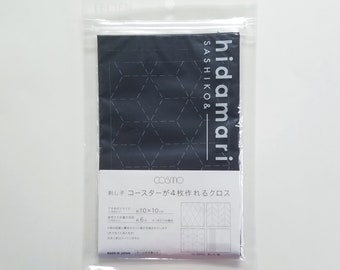 Lecien Cosmo sashiko pre-printed wash-away coaster sampler - traditional patterns on indigo blue