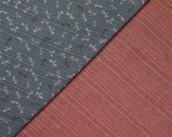 Sevenberry Japan reversible double sided dragonfly and wave dobby cotton in blue gray and brick red brown