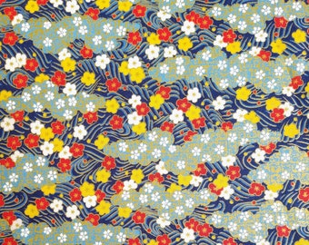 Japanese import new cotton quilting fabric - Quilt Gate Hyakka Ryoran plum blossom and clouds in breeze