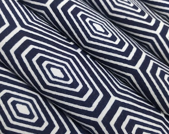 Indigo blue and white tortoise shell pattern cotton yukata fabric - by the yard