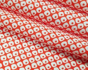 Japanese orange and white faux shibori kanoko pattern Tenugui cotton - by the yard