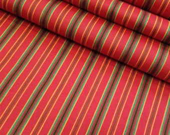 Vintage Red Striped wool kimono fabric - by the yard