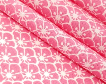 Japanese pink and white ume plum blossom patterned Tenugui cotton - by the yard