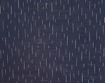 Sevenberry Japan Nara Homespun cotton canvas fabric - rain on navy indigo blue