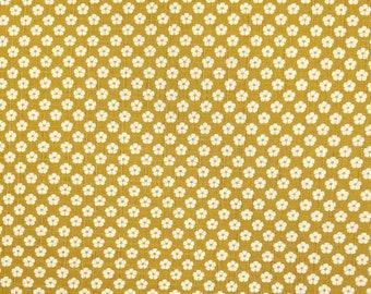 Japanese import new cotton fabric - Morikiku Japan plum blossom ume dobby in ocher mustard hue