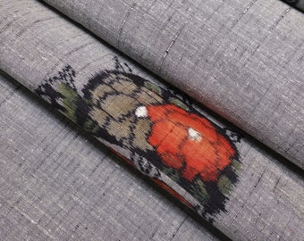Silver colored Tsumugi pongee Silk Kimono Fabric with thread spool itomaki design - by the yard