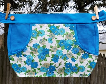 Clothespin Apron / Half Apron - Vintage blue floral fabric with blue accents