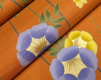Terracotta colored cotton yukata fabric - by the yard - yellow-tan and blue-purple morning glory