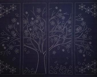 Sashiko pre-printed wash-away pattern sampler panel - Sakura cherry blossom tree on dark navy